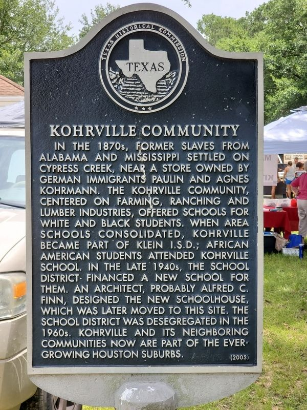 Kohrville Community Marker image. Click for full size.