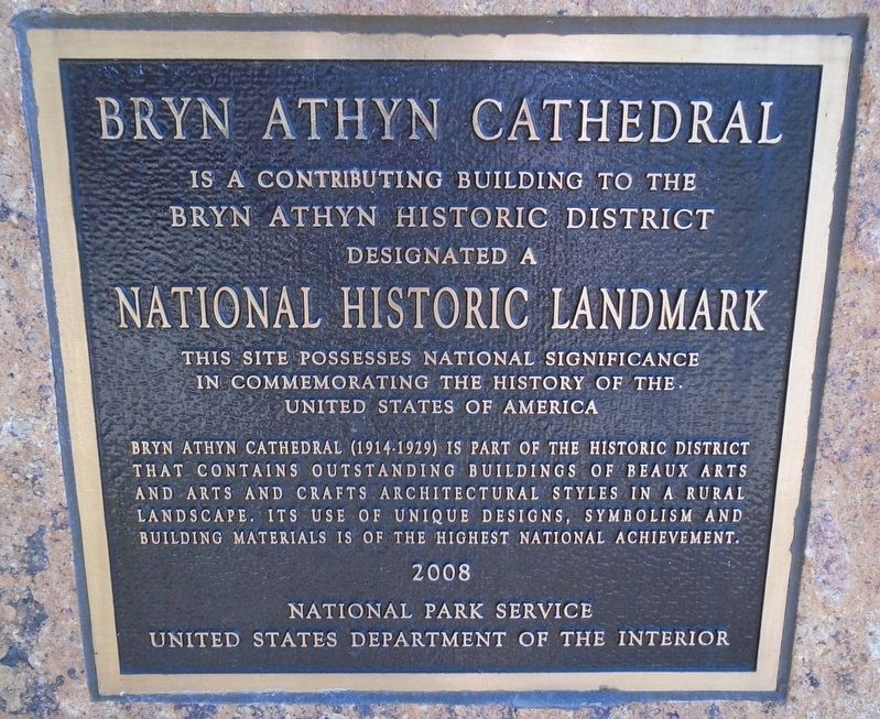 Bryn Athyn Cathedral NHL Marker image. Click for full size.