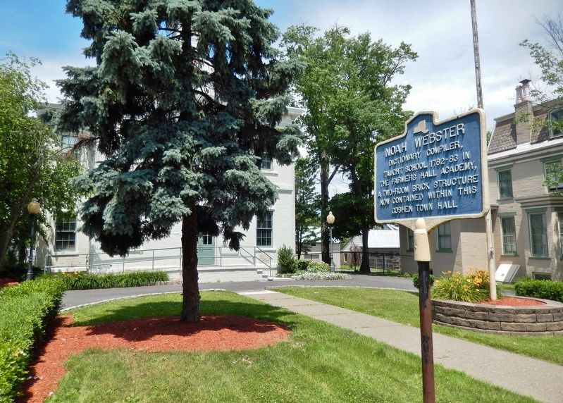 Noah Webster Marker (<i>wide view from sidewalk • Goshen Town Hall in background</i>) image. Click for full size.