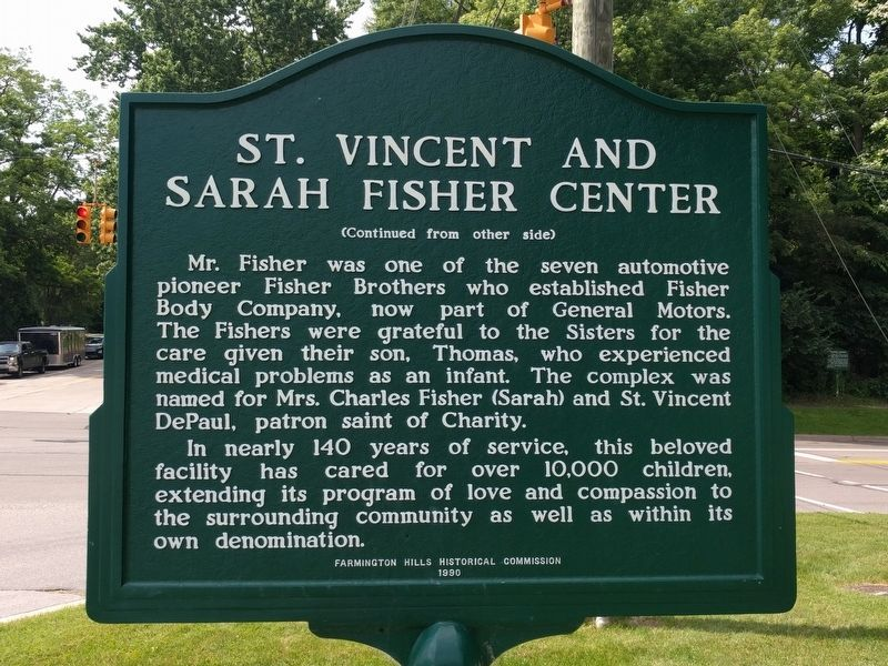 St. Vincent and Sarah Fisher Center Marker image. Click for full size.