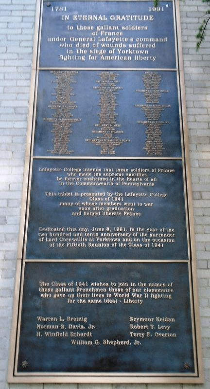 Honored French Soldiers Who Died at Yorktown Marker image. Click for full size.