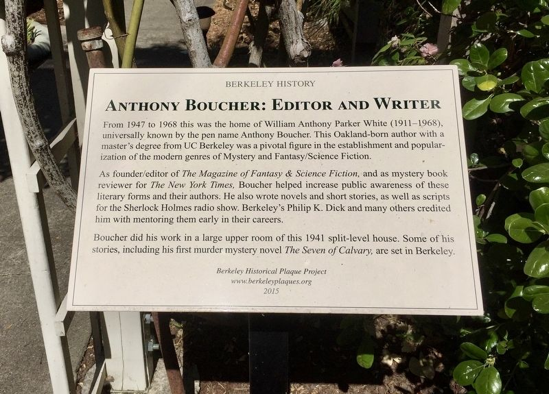 Anthony Boucher: Editor and Writer Marker image. Click for full size.