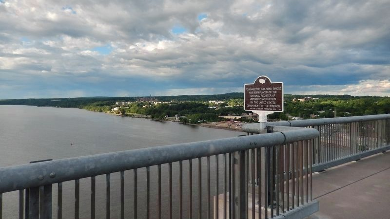 Poughkeepsie Railroad Bridge Marker<br>(<i>view looking northeast across Hudson River</i>) image. Click for full size.