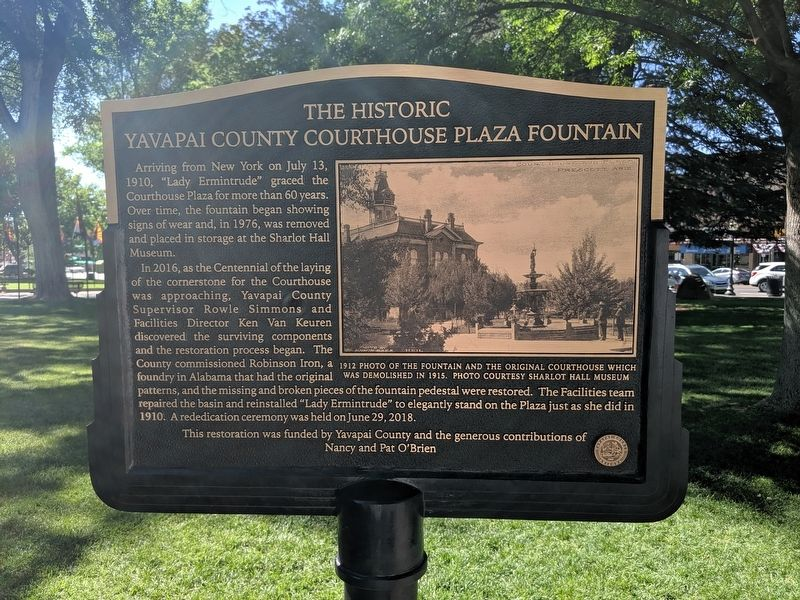 The Historic Yavapai County Courthouse Plaza Fountain Marker image. Click for full size.