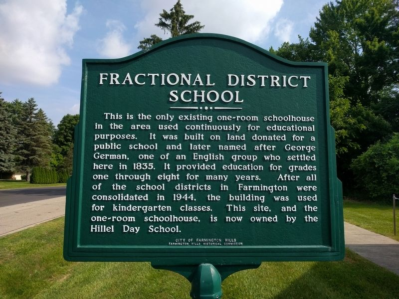 Fractional District School Marker image. Click for full size.