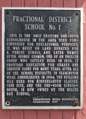 Fractional District School No. 1 Marker image. Click for full size.
