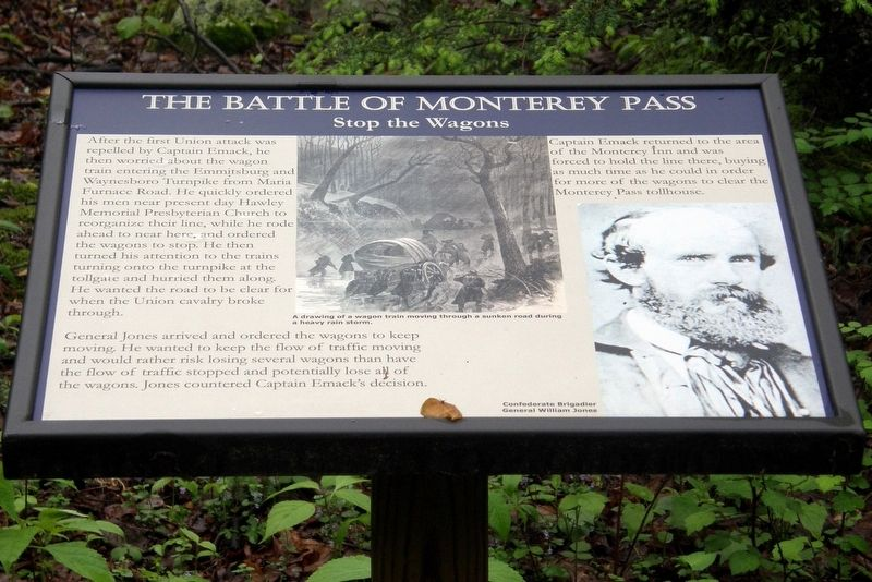 The Battle of Monterey Pass - Stop the Wagons Marker image. Click for full size.