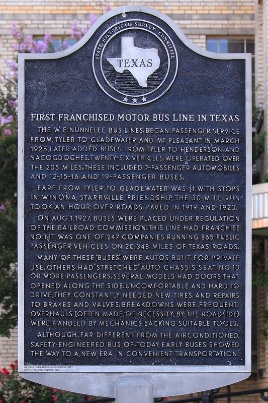First Franchised Motor Bus Line in Texas Marker image. Click for full size.