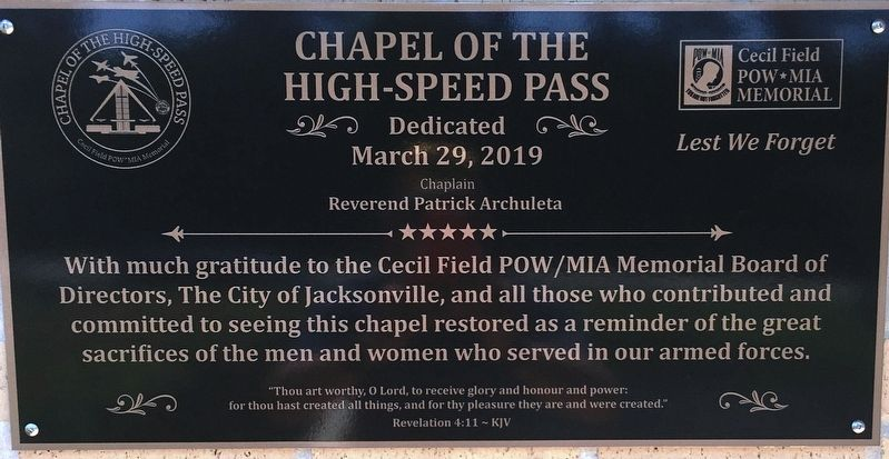 Chapel dedication plaque image. Click for full size.