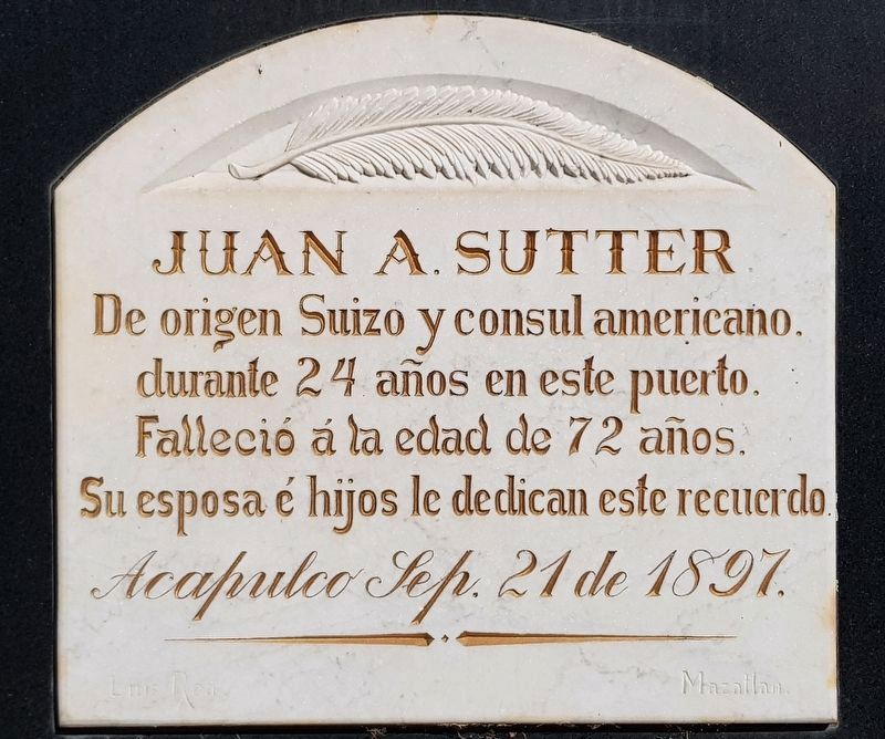 John A. Sutter, Jr.'s original Mexican gravestone image. Click for full size.