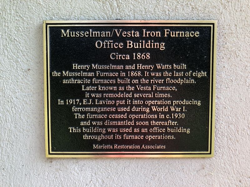 Musselman/Vesta Iron Furnace Office Building Marker image. Click for full size.