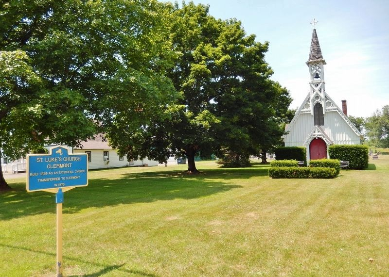 Saint Luke's Church Clermont Marker<br>(<i>view from U.S. Highway 9 • church background right</i>) image. Click for full size.