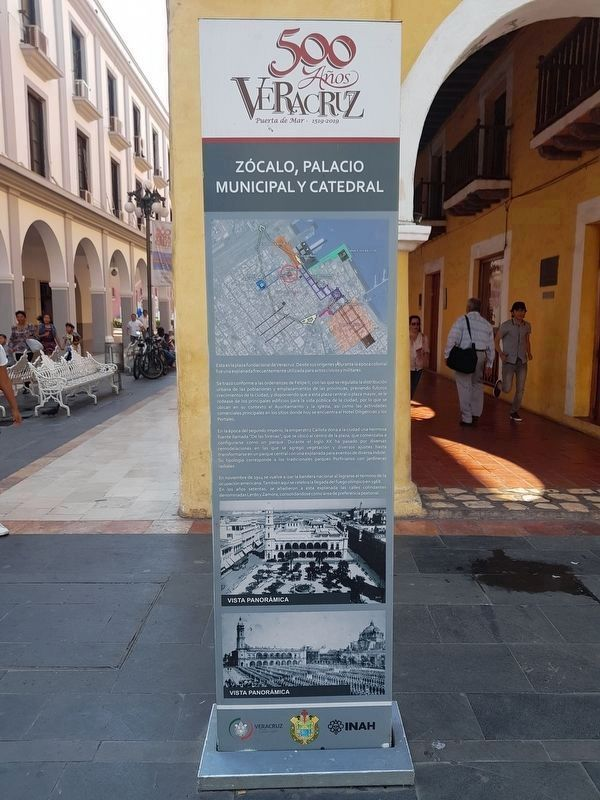 The Central Square, Municipal Palace and Cathedral Marker image. Click for full size.
