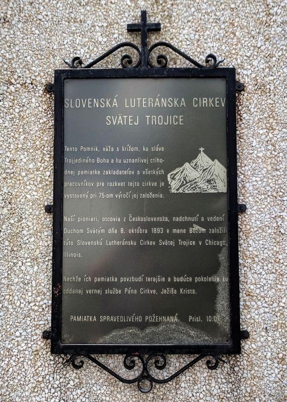 Trinity Slovak Lutheran Church Marker image. Click for full size.