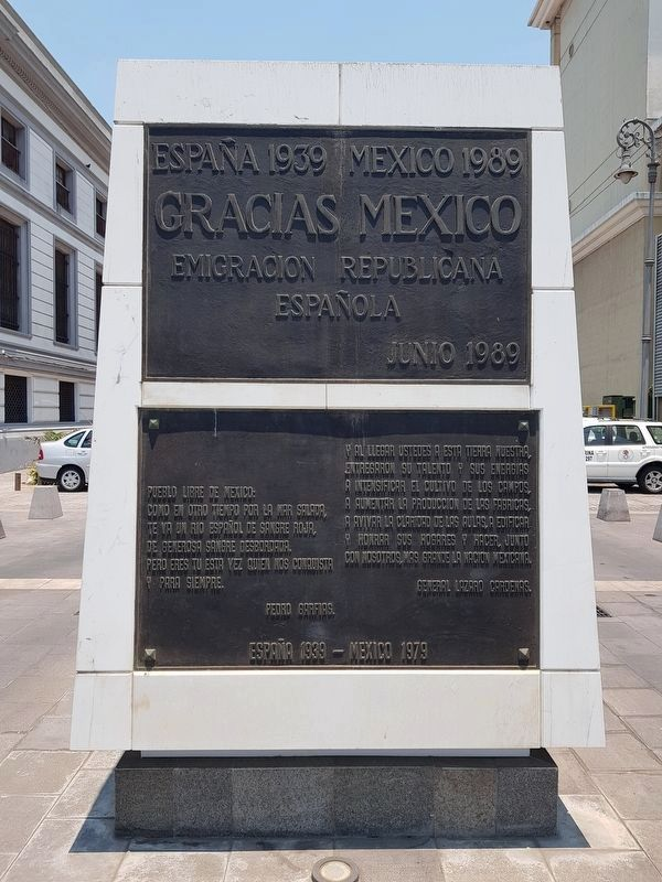 Monumento to Spanish Exiles in Mexico Marker image. Click for full size.