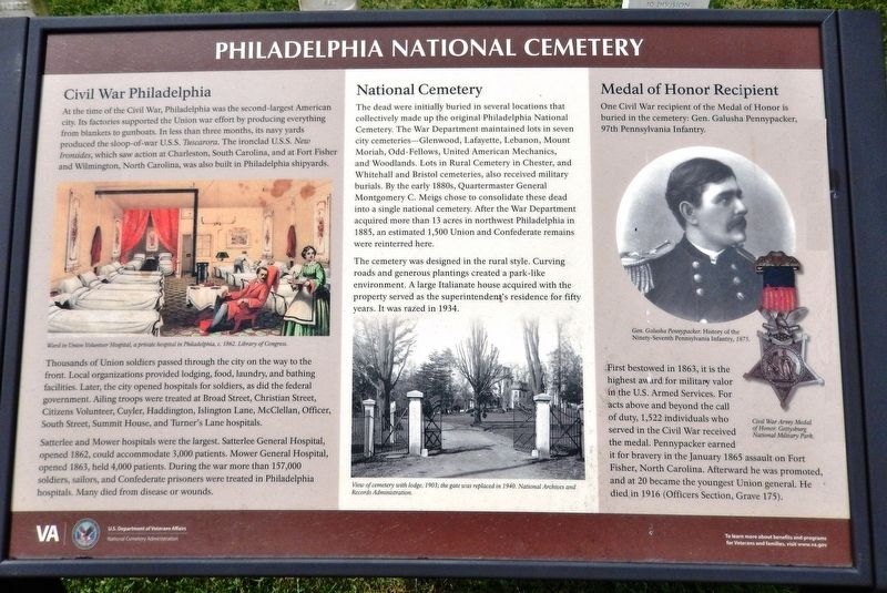 Philadelphia National Cemetery Marker image. Click for full size.