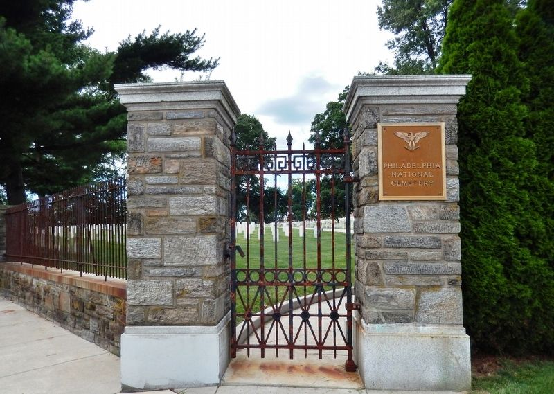 Philadelphia National Cemetery Front Gate<br>(<i>at Limekiln Pike & Haines Street intersection</i>) image. Click for full size.