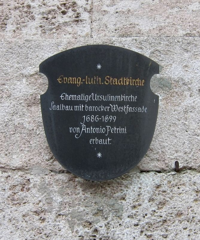 Evang.-luth. Stadtkirche / Protestant Lutheran City Church Marker image. Click for full size.