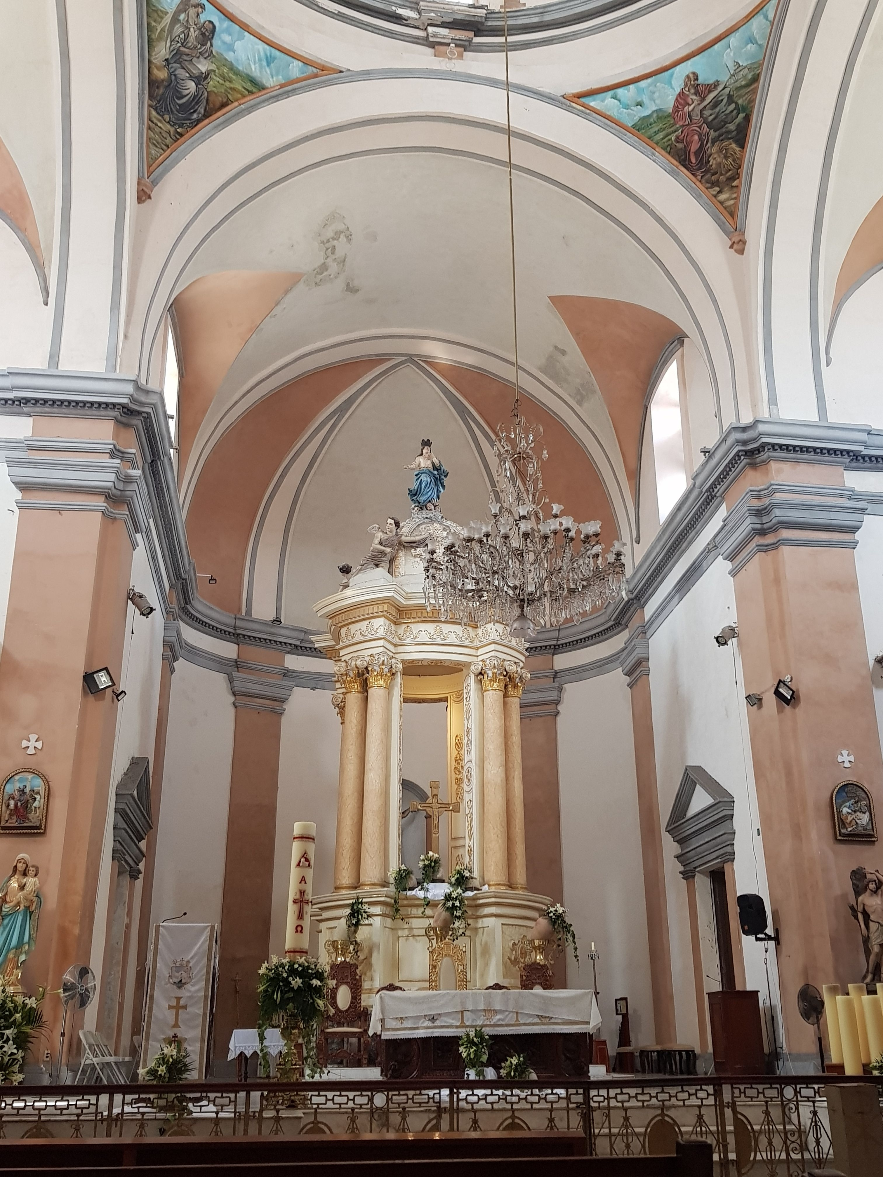 An interior view of the Cathedral of Veracruz, mentioned in the marker text