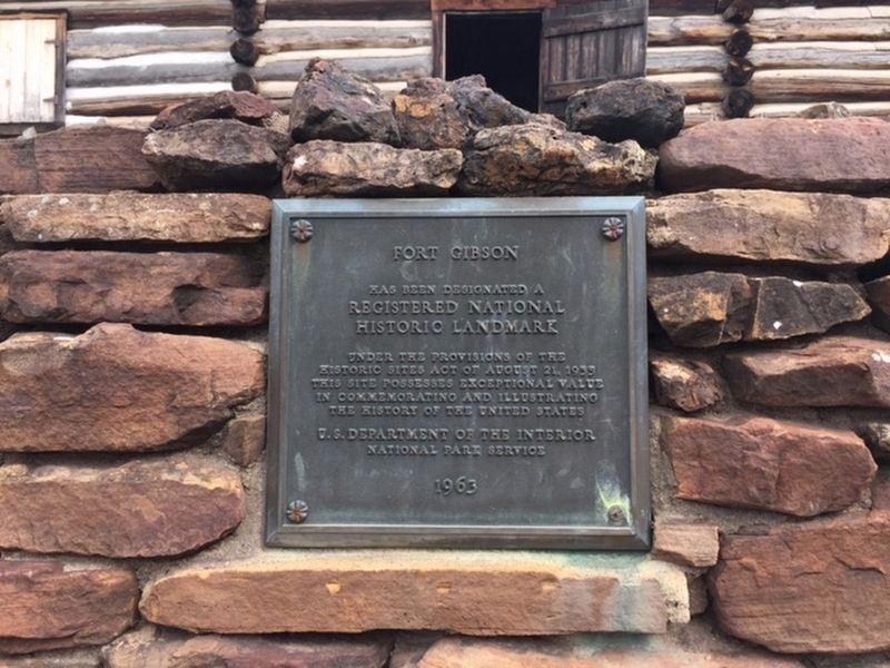 National Register plaque for Fort Gibson image. Click for full size.