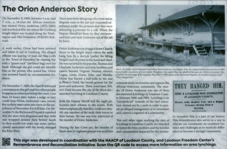 The Orion Anderson Story Marker image. Click for full size.