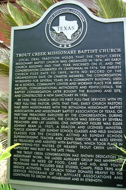 Trout Creek Missionary Baptist Church Marker image. Click for full size.