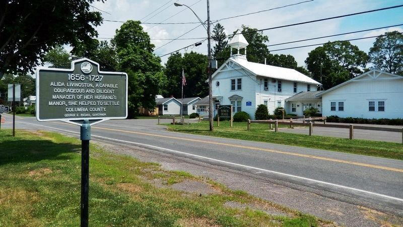 Alida Livingston Marker (<i>view north along Old Post Road • Town Hall in background on right</i>) image. Click for full size.