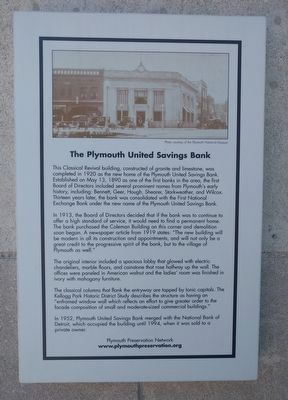 The Plymouth United Savings Bank Marker image. Click for full size.