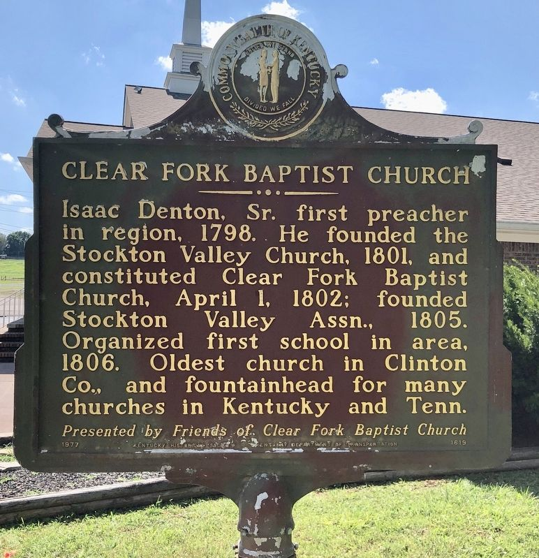 Clear Fork Baptist Church Marker image. Click for full size.