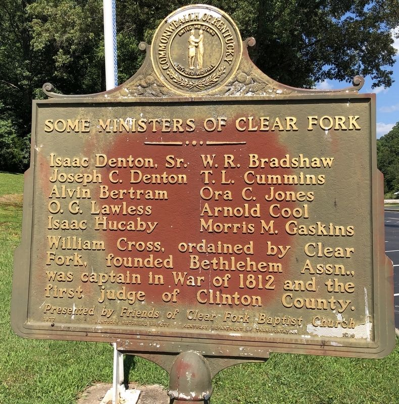 Clear Fork Baptist Church Marker (reverse) image. Click for full size.