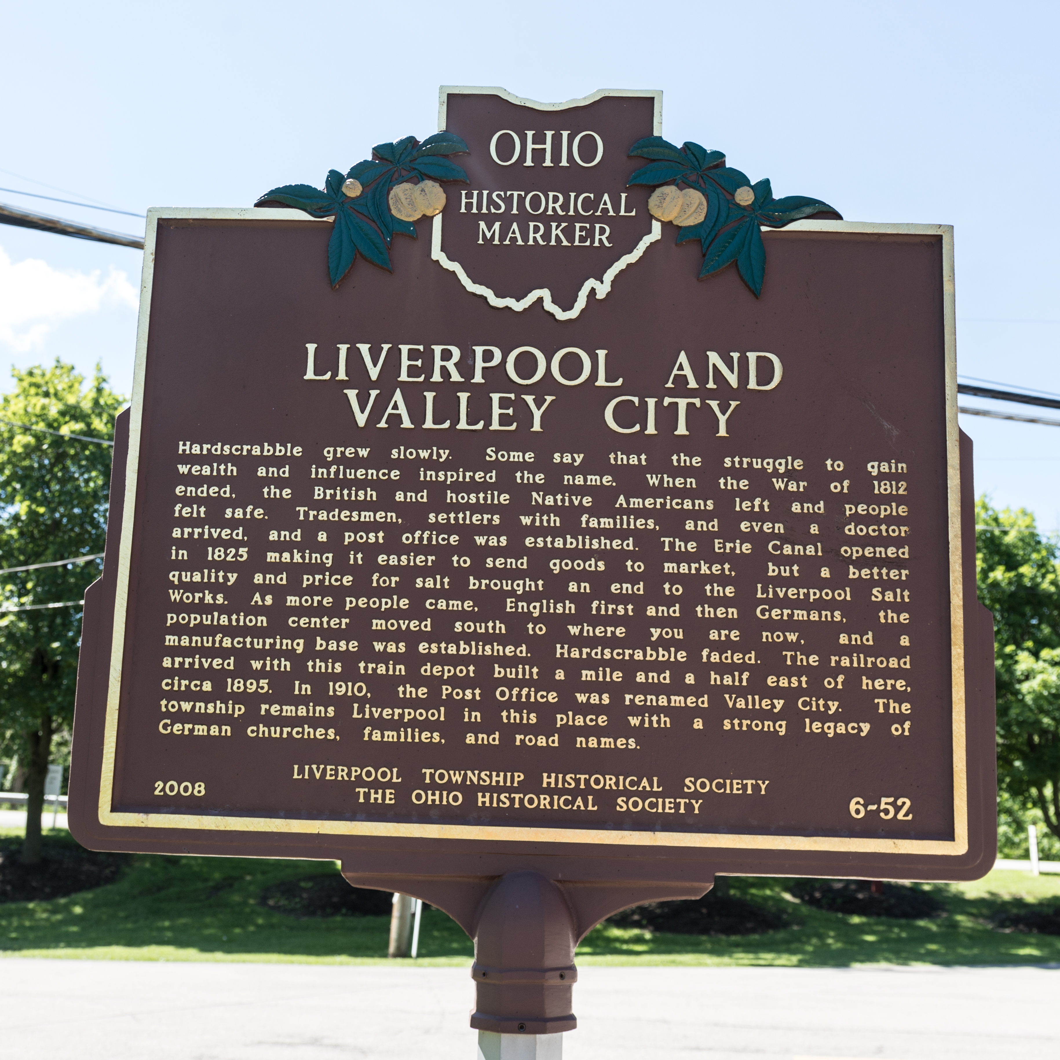 Liverpool and Valley City side of marker