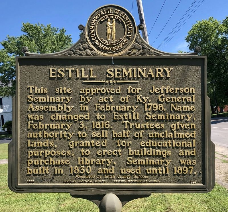 Estill Seminary Marker image. Click for full size.