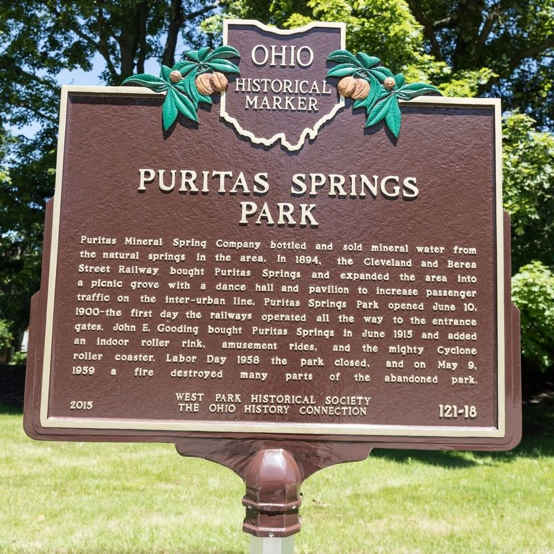 Puritas Springs Park side of marker image. Click for full size.