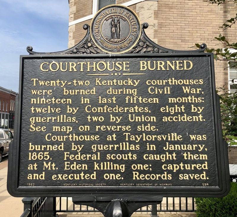 Courthouse Burned Marker image. Click for full size.