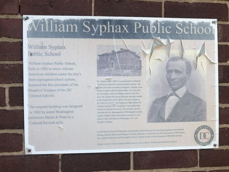 William Syphax Public School Marker image. Click for full size.