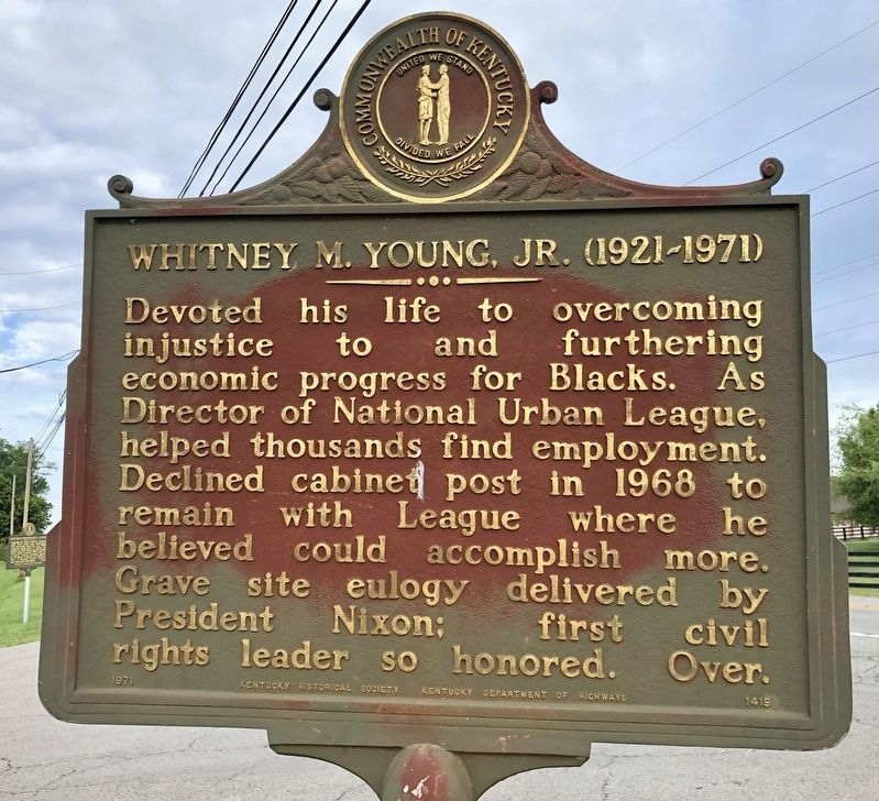 Whitney M. Young, Jr. (1921-1971) Marker (reverse) image. Click for full size.