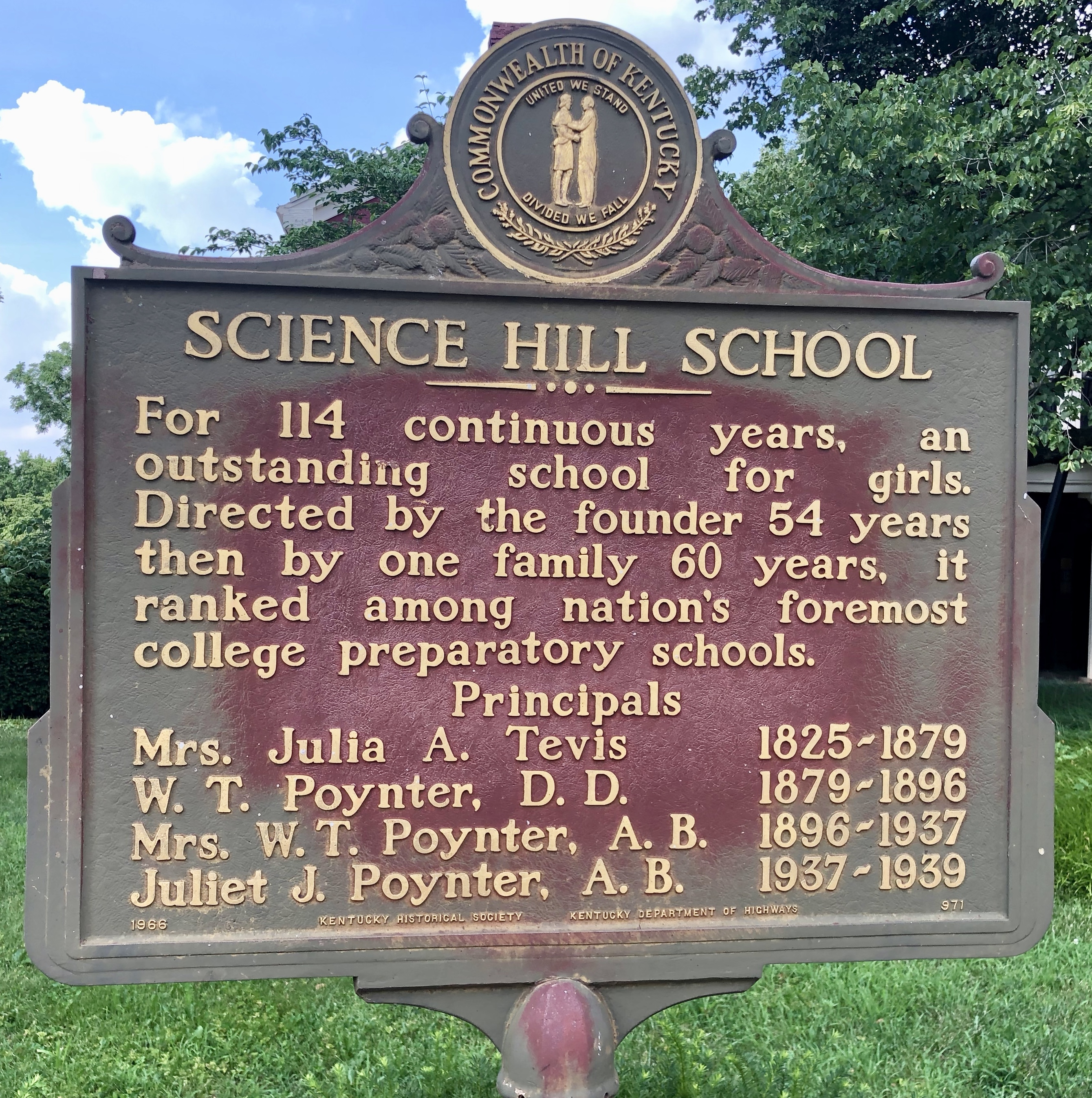 Science Hill School Marker