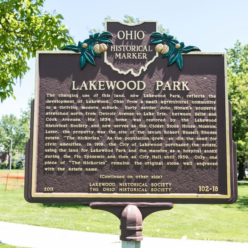 Lakewood Park Marker, side one image. Click for full size.