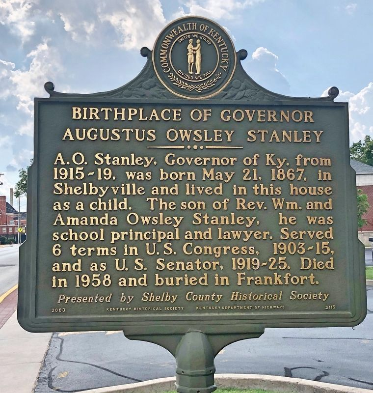 Birthplace of Governor Augustus Owsley Stanley Marker image. Click for full size.