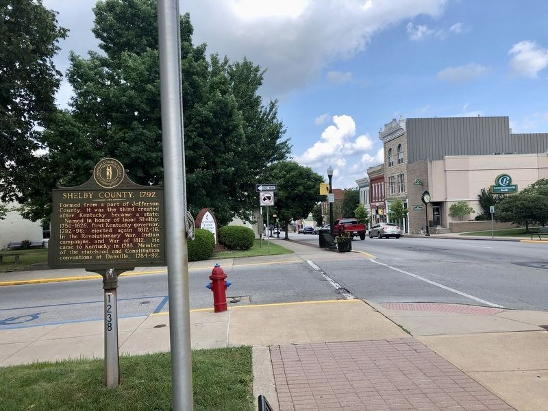Shelby County, 1792 Marker looking east on Main Street (the Midland Trail). image. Click for full size.