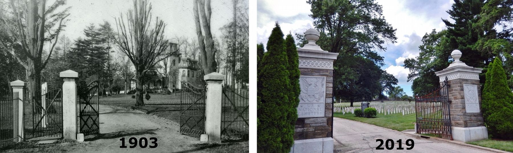 Marker detail: View of cemetery entrance, 1903 & 2019 • the gate was replaced in 1940 image. Click for full size.