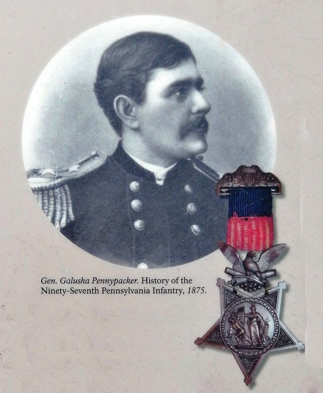 Marker detail: Gen. Galusha Pennypacker. History of the Ninety-Seventh Pennsylvania Infantry, 1875 image. Click for full size.