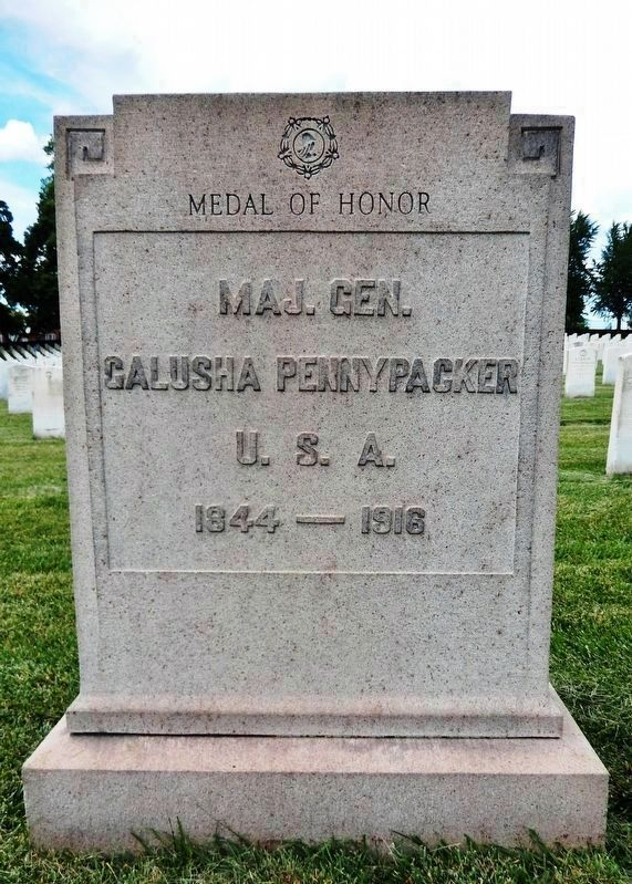 Galusha Pennypacker Headstone<br>(<i>located about 20 feet northwest of the marker</i>) image. Click for full size.