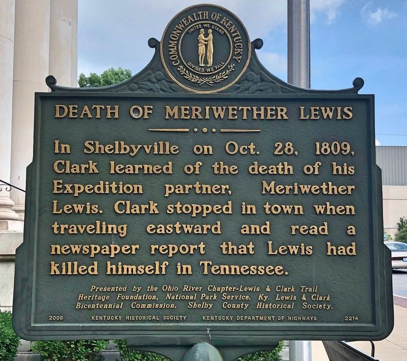 Death of Meriwether Lewis Marker image. Click for full size.