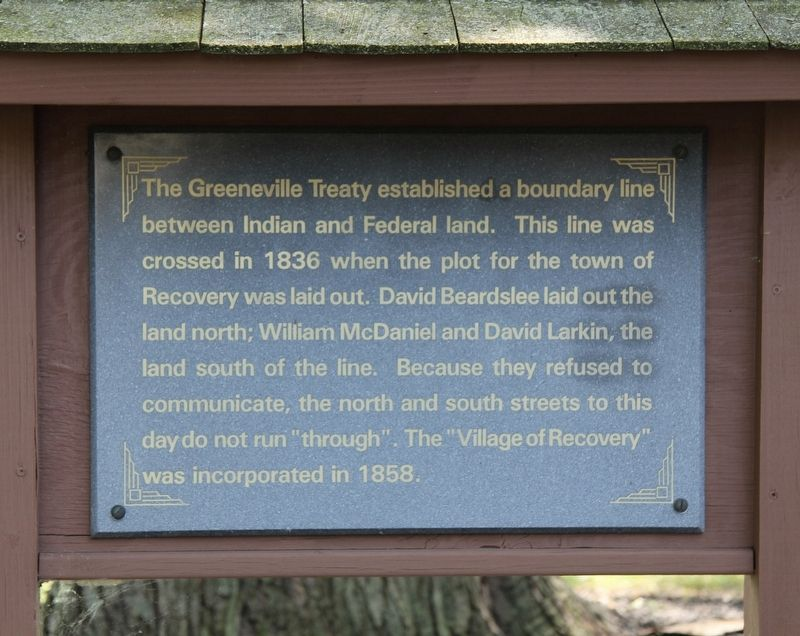 The Greeneville Treaty Boundary Line Marker image. Click for full size.