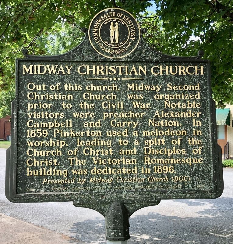 Midway Christian Church Marker (reverse) image. Click for full size.