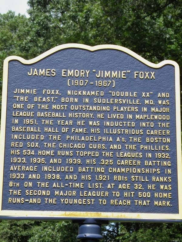 "James Emory ""Jimmie"" Foxx Marker image. Click for full size."