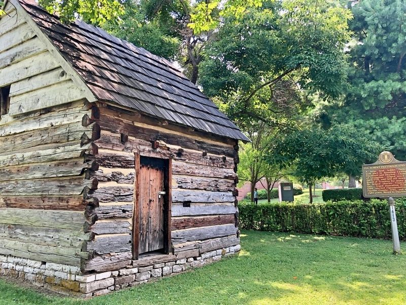 Patterson Cabin and marker. image. Click for full size.