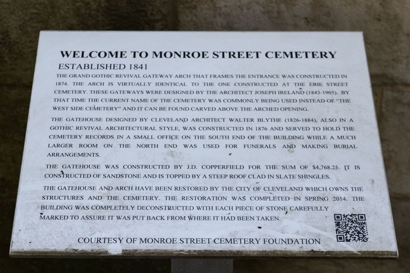Welcome to Monroe Street Cemetery Marker image. Click for full size.
