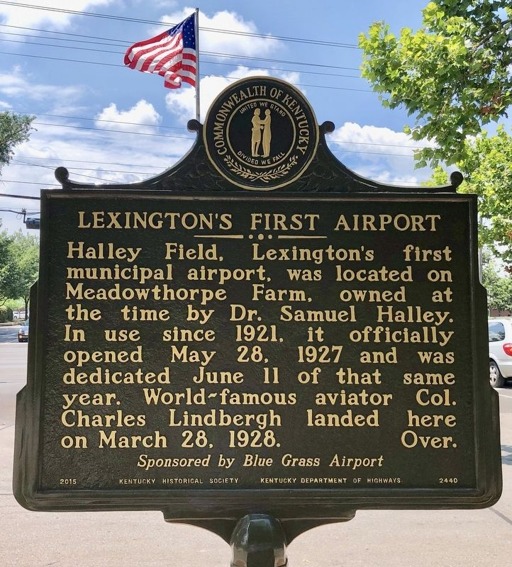 Lexington's First Airport Marker image. Click for full size.